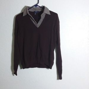 Chocolate faux layered sweater XL